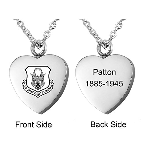 HooAMI Personalized Military Army Dog Tag Necklace Stainless Steel Heart Cremation (Icon Dog Tag Necklace)