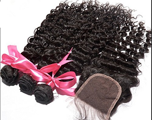 Cheap 7A Mongolian Virgin Remy Human Hair 3 Bundles With 4''x4'' Lace Closure Deep Wave Natural Color 8''closure+12''16''16''weft by DaJun