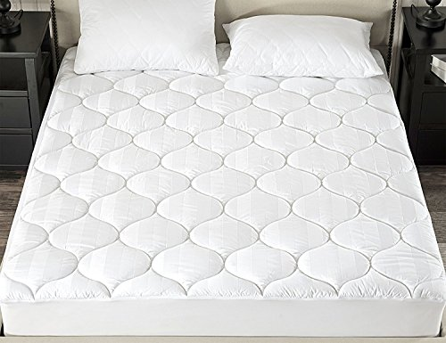 downluxe Down Alternative Fitted Mattress Pad (Queen,White) - 500TC 100% Egyptian Cotton Cover Stretches up to 18 Inches Deep - (100% Cotton Mattress Pad)