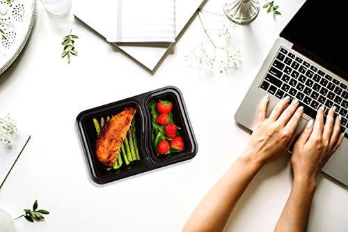 |10 pack| 2 fach Meal Prep Container 0.8L BPA-frei Frishchalteboxen aus Kunststoff mit Trennw/ände Gefrierschrank safe Sp/ülmaschine Mikrowelle Frischhaltedosen Bento-Box Set mit Deckel