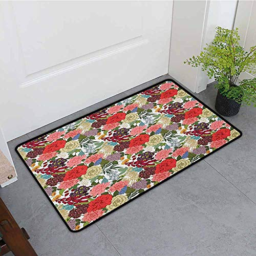 - ONECUTE Non Slip Doormat,Floral Hand Drawn Foxglove Hydrangea Primrose and Hyacinth Summer Foliage Romantic Design,with No-Slip Backing,24
