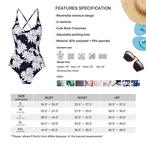 MARINAVIDA Womens Reversible Swimsuit Printing One Piece Bathing Suit with Crossed Straps