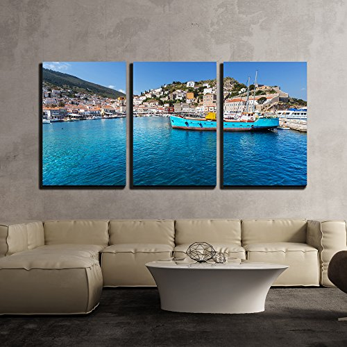 wall26 - 3 Piece Canvas Wall Art - Original Hydra Island in Greece - Modern Home Decor Stretched and Framed Ready to Hang - 16
