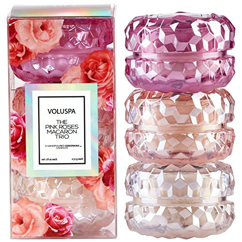 Voluspa Roses Macaron Trio Gift Set, 1.8 Ounces Each by Voluspa