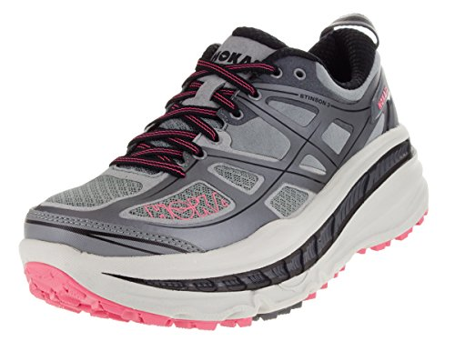 HOKA ONE ONE Women's Stinson 3 ATR Trail Running Shoes, Grey/Neon Pink, 6 For Sale