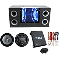 Pyramid 10-Inch 1000W Subwoofer System + Kenwood 6.5-Inch 300W Speakers + Boss Riot 1100W Amplifier