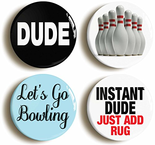 [Dude Bowling Button Pin Set (Each pin is 1inch Diameter)] (Lebowski Rug Costume)