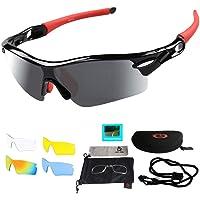 Sportzonnebril, fietsbril, sportbril met UV400, 5 wisselglazen, incl. zwarte gepolariseerde lens, voor…