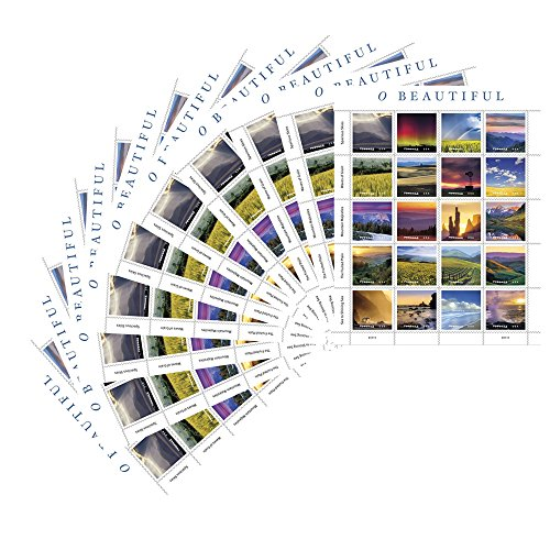 (O Beautiful 10 Sheets of 20 USPS First Class Postage Stamp Natural America Skies Grain Mountains Plains Sea Celebration Wedding (200)