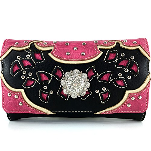 - Justin West Tooled Leather Laser Cut Rhinestone Concho Studded Shoulder Concealed Carry Tote Style Handbag Purse Wallet (Black Hot Pink Wallet)