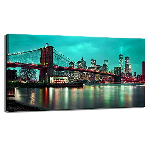 LevvArts - Brooklyn Bridge Wall Art Blue New York City Night View Pictures Print Modern Manhattan Skyline Photo Cityscape Canvas Artwork for Living Room Office Wall Decoration Ready to Hang