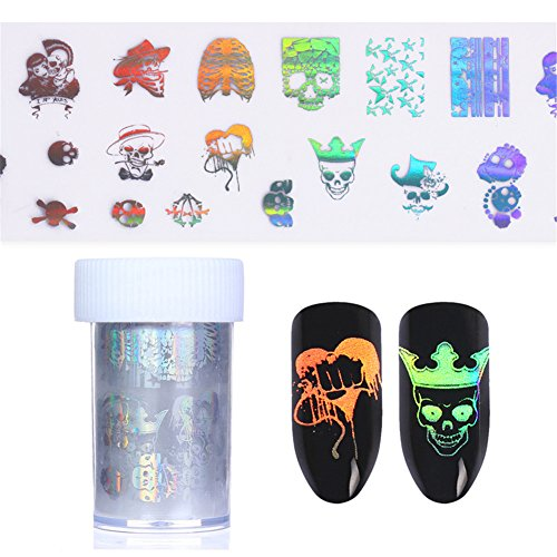NICOLE DIARY 2 Rolls Holographic Starry Nail Foil Halloween Theme Skull Patterns Manicure Nail Art Transfer Sticker (2 (Halloween Nail Designs Red And Black)