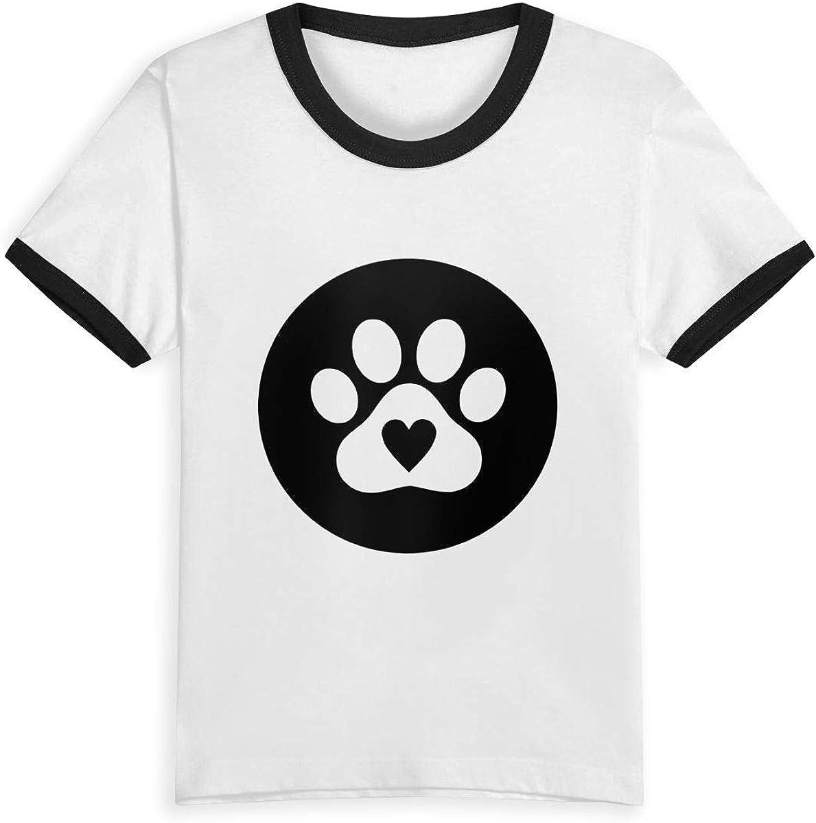 Queen Elena - Camiseta de Manga Corta con diseño de corazón y Huella de Pata, 2 – 6 años, de algodón, para niños y niñas Negro Negro (3 años: Amazon.es: Ropa y accesorios