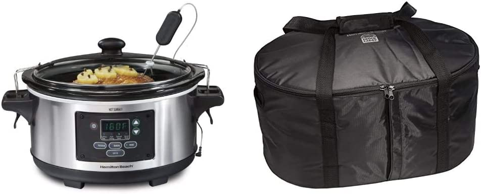 Hamilton Beach Portable 6-Quart Set & Forget Digital Programmable Slow Cooker With Temperature Probe & Travel Case & Carrier Insulated Bag for 4, 5, 6, 7 & 8 Quart Slow Cookers