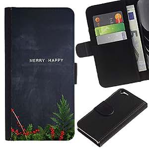 KLONGSHOP // Tirón de la caja Cartera de cuero con ranuras para tarjetas - Feliz feliz Navidad pizarra del profesor - Apple Iphone 6 //