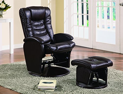 Coaster Glider & Ottoman-Brown (Glider Leatherette Recliner)