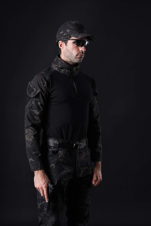 NEW VIEW Mens Tactical Combat Shirt Long Sleeve with 1//4 Zipper Military Camo Shirt