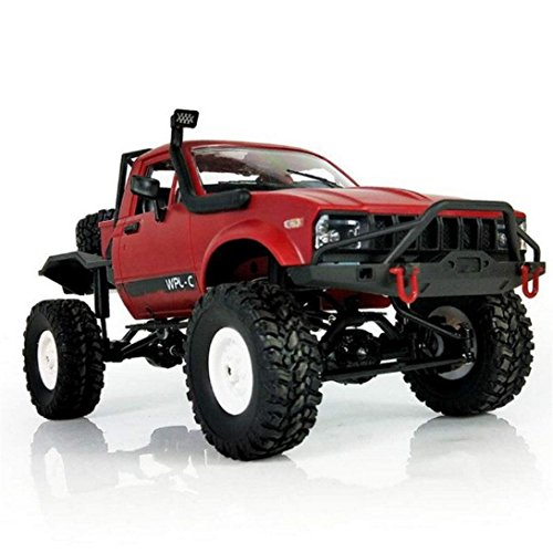 ZLOSKW RC Car Model - 1:16 WPL C14 Scale 2.4G 2CH 4WD Mini Off-road RC Semi-truck RTR Kids Climb Truck Toys (Red)