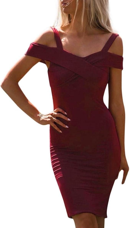 Amlaiworld Damen Frühling Sommer elegant MiniKleid Retro trägerlos  Abendkleider Geschäft eng kurz Kleider Party V-Ausschnitt cocktailkleid