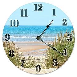 Large 10.5 Wall Clock Decorative Round Wall Clock Home Decor Novelty Clock BEACH DUNES