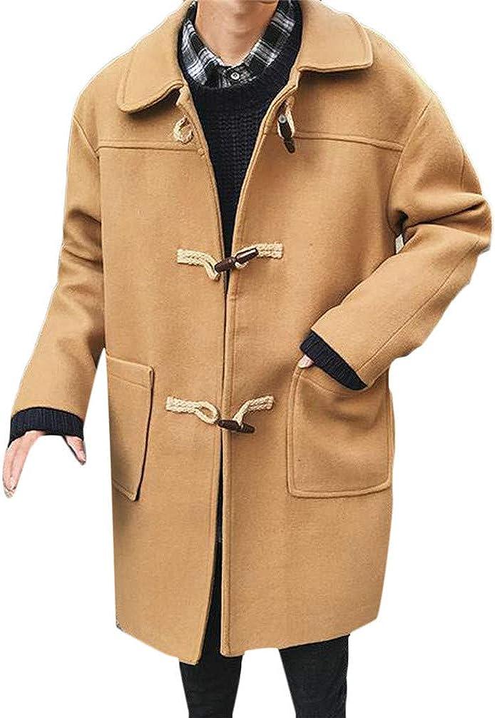 XXBlosom Men Toggle Lapel Neck Pocket Casual Overcoat Trench Wool Blend Coat Jacket