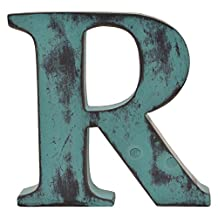 Letter-O-Holic Shabby Chic Vintage Large 11 cm Wooden Letters Hand Finished Alphabets Free-Standing Or Wall Mounted Décor for Weddings Baby Names Signs Unique Personalised Gift. (Teal, Letter R)