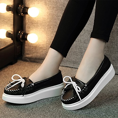 up Wear Tassel Platform For Women Loafer Lace Front Black Shoes Fashion Resisting wBptpzq