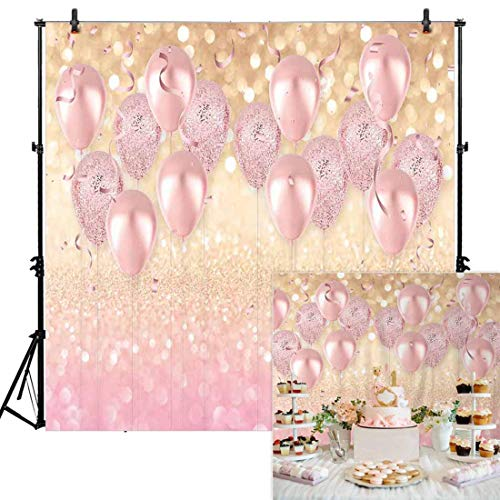 Personalized Balloons With Photo (Allenjoy 8x8ft Durable Soft Fabric Rose Gold Party Decorations Pink Balloon Glittter Bokeh Photo Backdrop Birthday Baby Bridal Shower Bachelorette Party Supplies Photography Background Studio)