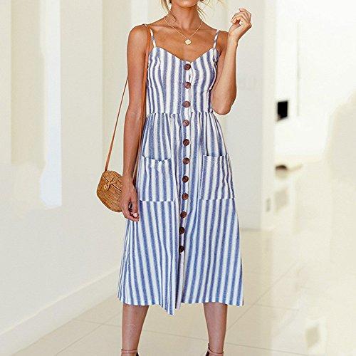 setsail Damen Sommer Urlaub Single ButtonStriped Print Sleeveless ...