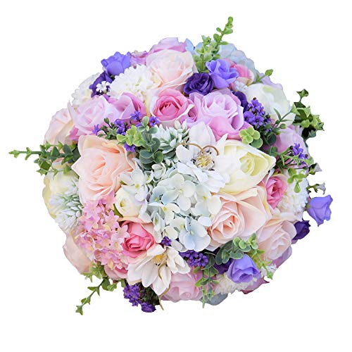 Daisy Rose Wedding Bouquet - Abbie Home Bride Bouquets - 8.5 inches Artificial Roses Daisy Dahila in Pink Lavender White - Wedding Bridal Flower