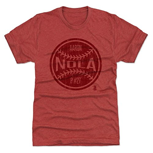 500 LEVEL's Aaron Nola Premium T-Shirt S Tri Red - Aaron Nola Ball R - Philadelphia Baseball Fan Gear Officially Licensed by the MLB Players Association