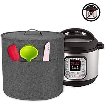 Luxja Dust Cover for 6 Quart Instant Pot, Cloth Cover with Pockets for Instant Pot (6 Quart) and Extra Accessories, Gray (Medium)