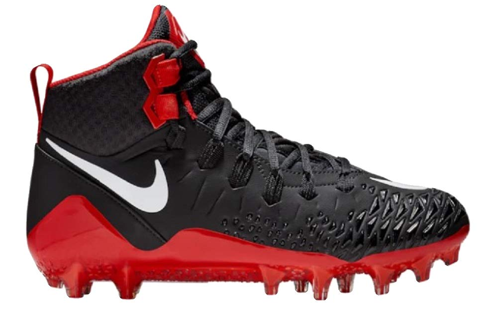 NIKE Men's Force Savage Pro Football Cleats, (Black/Red, 9 D(M) US)