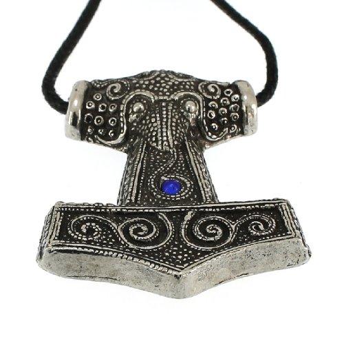 Handmade Viking Skane Thor Hammer Pewter Pendant ~ Blue Glass