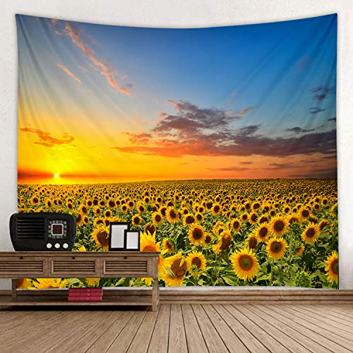 - Sunflower Sun Print Fabric Tapestry Decor Wall Art Tablecloths Bedspread Picnic Blanket Beach Throw Tapestries Colorful Bedroom Hall Dorm Living Room Hanging 79x59 inches