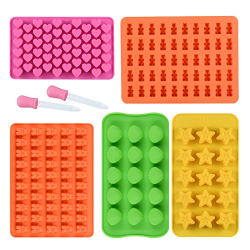 - Chocolate Molds Gummy Molds Silicone - Candy Mold and Silicone Ice Cube Tray Nonstick Including Hearts, Stars, Shells & Bears Set of 5 Best Food Grade Silicone Molds with 2 Bonus Droppers