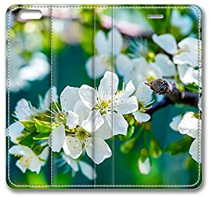 """Apple Flowers iPhone 6 Plus Plus Case, Leather Cover for iPhone 6 Plus (5.5"""") Premium Soft PU Leather Wallet Cover - Verizon, AT&T, Sprint, T-Mobile, International, and Unlocked with Black PC Hard Case Inside for iPhone 6 Plus by iCustomonline by ruishername"""