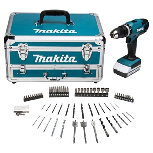 Makita HP457DWX4 G-Series Cordless Hammer Drill with 70 Accessories, 18 V