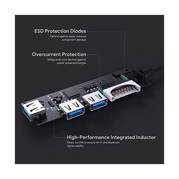 AUKEY Hub USB C con Lettore di Scheda SD e MicroSD,3 Porte USB 3.0 Adattatore USB C in Alluminio per MacBook PRO 2018… 5 spesavip