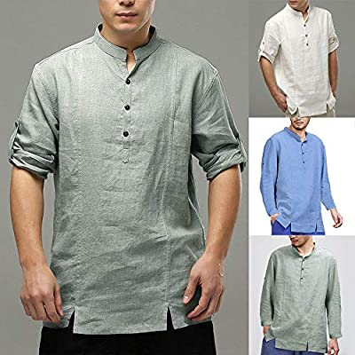 Teresamoon Mens Cotton Linen Shirts Casual Long Sleeve Stand Neck Tops Loose Blouse