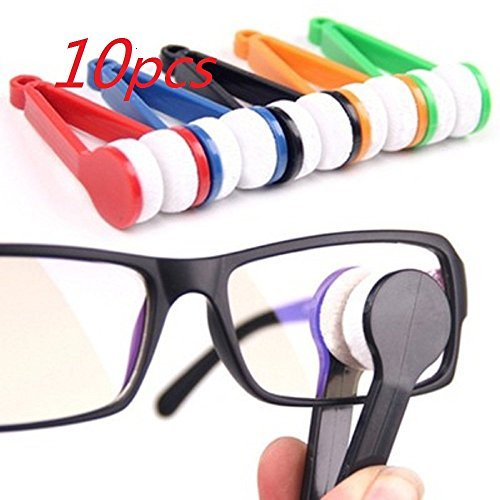 WP-TT® 10 pcs Mini Sun Glasses Eyeglass Microfiber Spectacles Cleaner Brush Cleaning Tool,Random Color