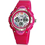 WISE® 2001ad New Arrival PAS Kids Teenage Girls Dual Time Colorful Dial Waterproof 100m Sports Casual Wrist Watches with Bling Bling Moon Star Pattern Rose Red