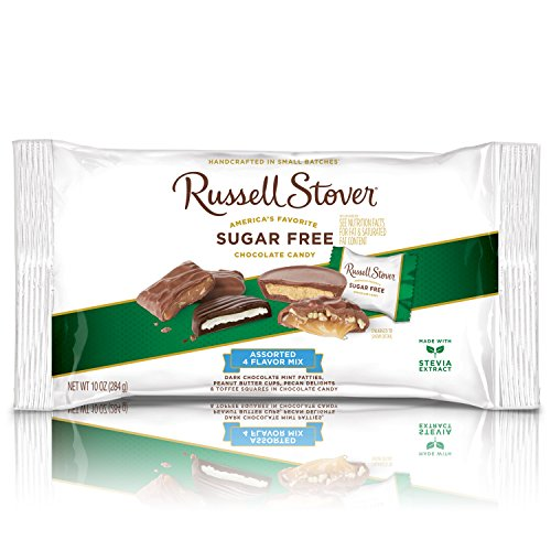 Russell Stover Sugar-Free 4-Flavor Mix Laydown Bag 10 Ounce Sugar-Free Chocolate Candy Variety Pack: Mint Patties, Peanut Butter Cups, Pecan Delight, Toffee Squares, Chocolate Sweetened with Stevia ()