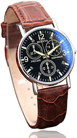 Nadition Watches Clearance !!! Watches Quartz Men's Watch Blue Glass Belt Watch Men