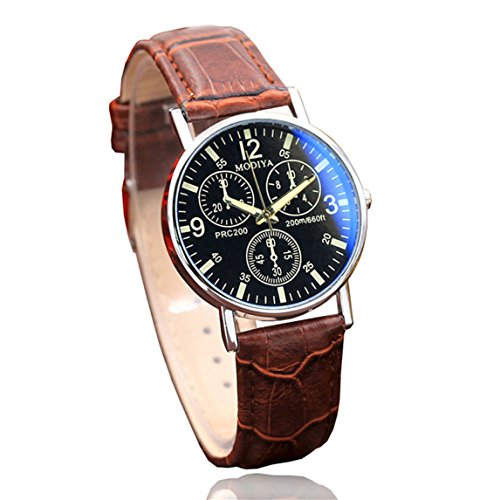 Nadition Watches Clearance !!! Watches Quartz Men's Watch Blue Glass Belt Watch Men (Brown)
