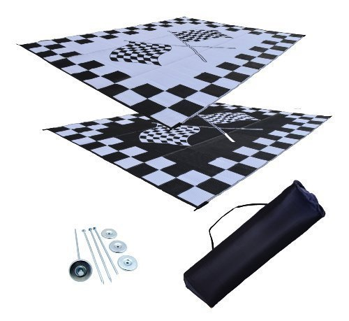 RV Patio Mat Awning Mat Outdoor Rug Trailer Mat Complete Kit 9x18 (Finish Line Flags) by EZ Travel Mats