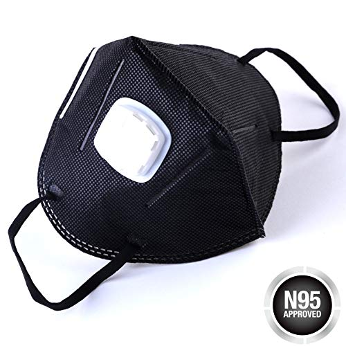Black N95 Respirator Mask - Dust Masks with Valve - Disposable Face Mask for Air Pollution - Carbon Activated Dustproof Mask - Safety Smoke Mask for Mouth - Tools for Men - Pack of 20 Breathing Masks