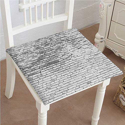 Mikihome Squared Seat Cushion Rustic Worn and Cracked Stained Brick Wall Masonry White Grey Garden Patio Home Kitchen Office Sofa Seat Pad (Brick Vinyl Ottoman)