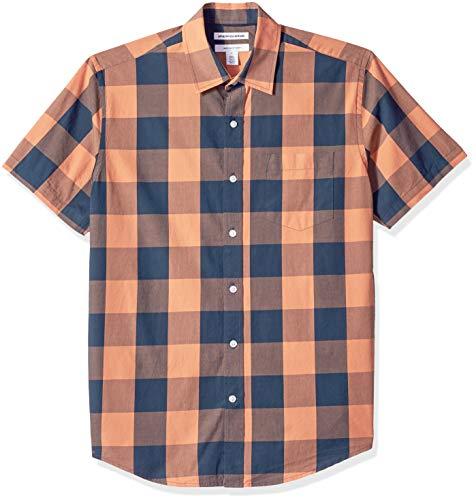 Amazon Essentials Men's Regular-Fit Short-Sleeve Casual Poplin Shirt, Blue/Orange Buffalo, Medium