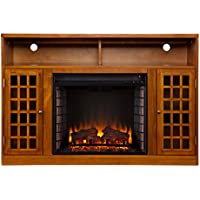 SEI Narita Media Console with Electric Fireplace, Glazed Pine